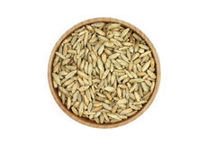 Grain rye malt in a wooden container Royalty Free Stock Photography