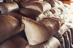 Grain sacks. In storage room or silo Stock Image