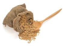Grain sec d'isolement de riz non-décortiqué dans un sac avec la cuillère en bois Photos libres de droits