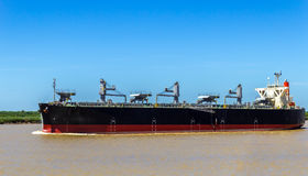Grain Ship in the Paraná River Stock Images