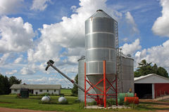 Grain silo. On a wisconsin dairy farm cabled for unloading Royalty Free Stock Image