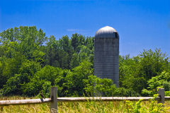 Grain silo in countryside Royalty Free Stock Images