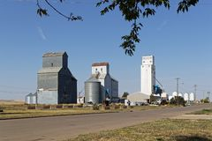 Grain silo in the countryside of North Dakota. Near the town of New England stock image