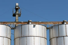 Grain silo facility. Top of a grain silo Stock Photography