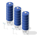 Grain silo, isometric blue building infographic on white background. Royalty Free Stock Photography