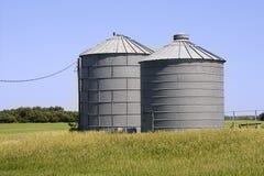 Grain Silos. Two Grain Silos on a Nebraska Farm stock photo