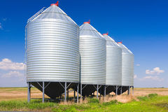 Grain Silos. Steel grain silos used to store grain stock photography