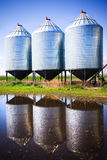 Grain Silos. Steel grain silos used to store grain royalty free stock photos