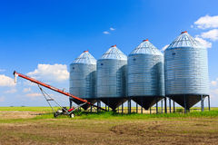 Grain Silos. Steel grain silos used to store grain royalty free stock images