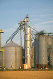 Grain Silos. Modern commercial grain or seed silos in rural Prince Edward Island, Canada stock photo