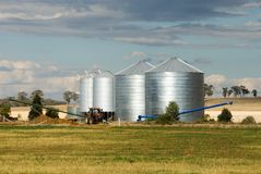 Grain Silos. On a farm in the Central West region of New South Wales, Australia stock images