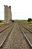 Grain Silos. Adjacent to railway lines, in South-Western New South Wales, Australia stock photo