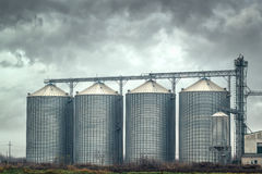 Grain silos on cloudy day Royalty Free Stock Image