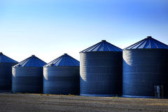 Grain Silos on Farm for Farming and Storage of Wheat Stock Images