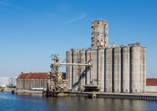 Grain Silos in Harbor Royalty Free Stock Images