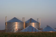 Grain silos at sunset Royalty Free Stock Image