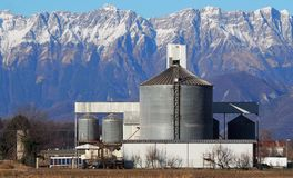 Grain storage bin with silos and distribution system at the foot of the mountains. In a winter scenery stock images