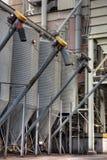 Grain storage bins at industrial elevator royalty free stock images