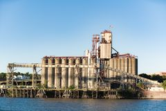 Grain storage facility terminal on Willamette river stock photography