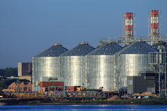 Grain storage silos Stock Images