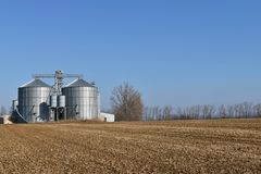 Grain storage silos. Royalty Free Stock Images