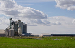 Grain storage silos and mill Royalty Free Stock Images