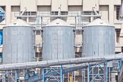 Grain storage silos tank Royalty Free Stock Image