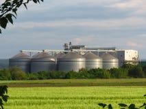Grain storage steel silos. Silo system. Flat bottom silos, flat bottom bins. Grain storage steel silos. Silo system. Flat bottom silos also called flat bottom stock image