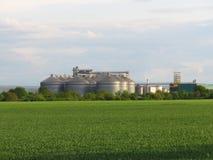 Grain storage steel silos. Silo system. Flat bottom silos, flat bottom bins. Grain storage steel silos. Silo system. Flat bottom silos also called flat bottom stock photo