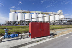 Grain storage tanks. Close - up of grain storage tanks Royalty Free Stock Images