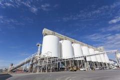Grain storage tanks Stock Photo
