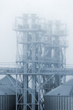 Grain terminal in dense fog, Odessa, Ukraine Royalty Free Stock Images