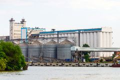 Grain terminal at the port royalty free stock image
