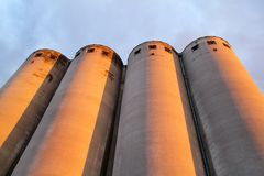 Grain terminal storage old silos, very rustic / Agricultural Silos in Belgrade, Serbia.  Royalty Free Stock Images