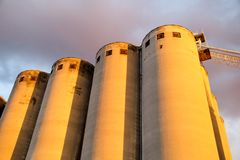 Grain terminal storage old silos, very rustic / Agricultural Silos in Belgrade, Serbia.  Royalty Free Stock Image