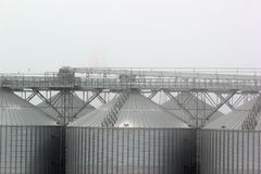 Grain terminal tanks in dense fog, Odessa, Ukraine Stock Photography
