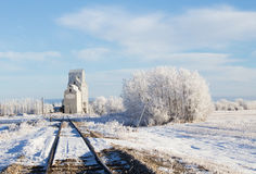 Grain terminal winter landscape Royalty Free Stock Photos