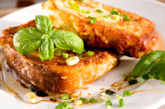 Grain toasts with green onions, basil, olive oil and vinegar Stock Photos