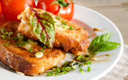 Grain toasts with green onions and basil Stock Images