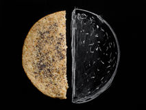 Grain tortilla bread. Grain bread cake half on a black background chalk drawing Royalty Free Stock Image