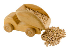 Grain in truck wooden toy isolated on white Stock Photo