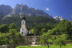 Grainau Church and Zugspitze, Bavaria Royalty Free Stock Photography