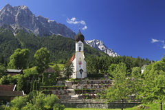 Grainau Church and Zugspitze, Bavaria Royalty Free Stock Image