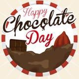 Graine de cacao, barre de chocolat et boisson pour le jour de chocolat, illustration de vecteur Photographie stock