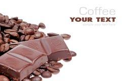 Graine de café et chocolat Photos stock