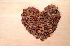 Graine de pastèque rosted par rouge de forme de coeur Images libres de droits