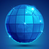 Grained plastic blue flash globe, geometric glisten eps10 figure.  royalty free illustration