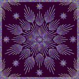 Grained Star. Filigree star with frame on dark purple background Royalty Free Stock Photos