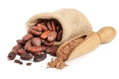Graines de cacao dans le sac avec la poudre de cacao dans le scoop d'isolement sur le fond blanc Images stock