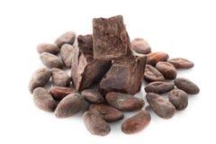 Graines de cacao et chocolat foncé image libre de droits